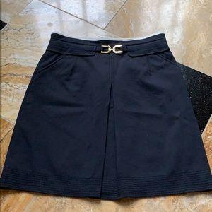 Ann Taylor navy skirt/gold faux belt Buckle/trim